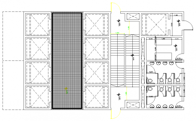 High rise office tower 40 story underground parking plan detail