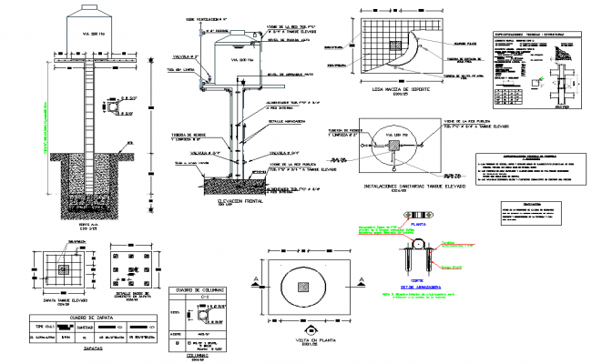 High tank with column plan detail dwg file