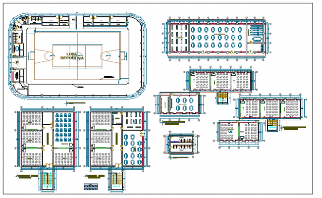 Higher education institute plan details with sports ground dwg file