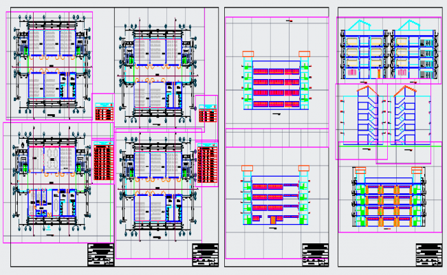 Higher institute design elevation and section drawing