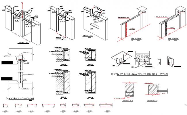 Hinge section plan detail dwg file
