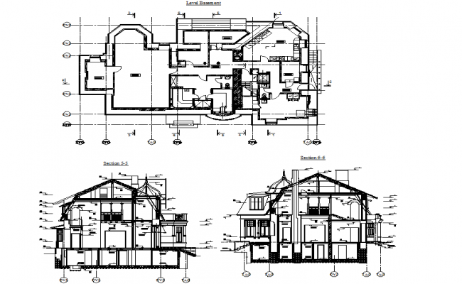 Historic villa elevation and plan dwg file