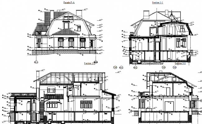 Historic villa elevation dwg file