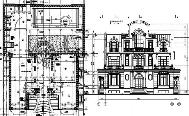 Historic villa elevation dwg file