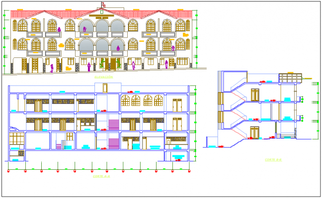 Historical place elevation detail dwg file
