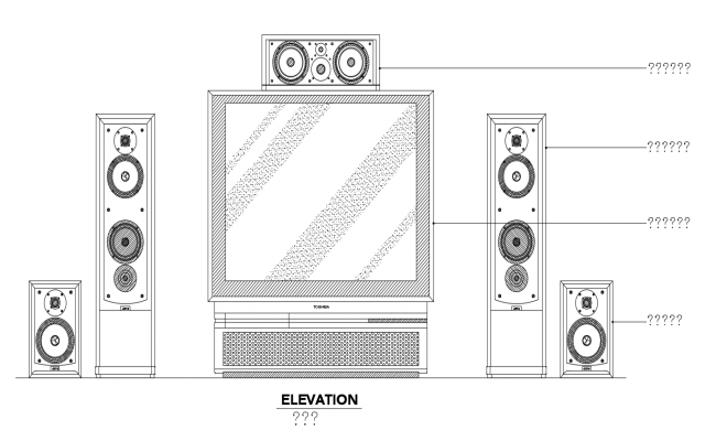 Home audio view with sound system with electrical view dwg file