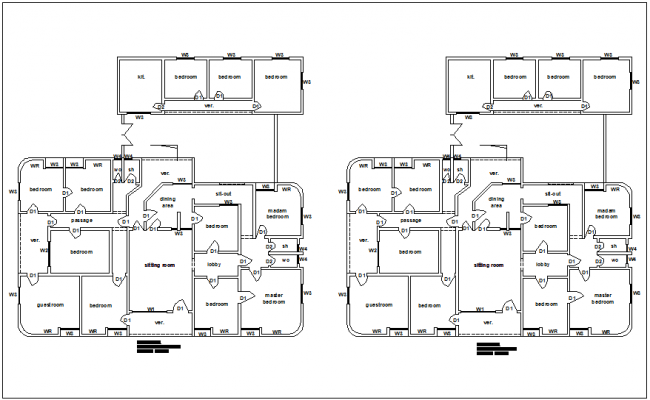 Home building electric layout for lighting and power point view dwg file