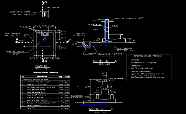 Home pool foundation plan and section autocad file