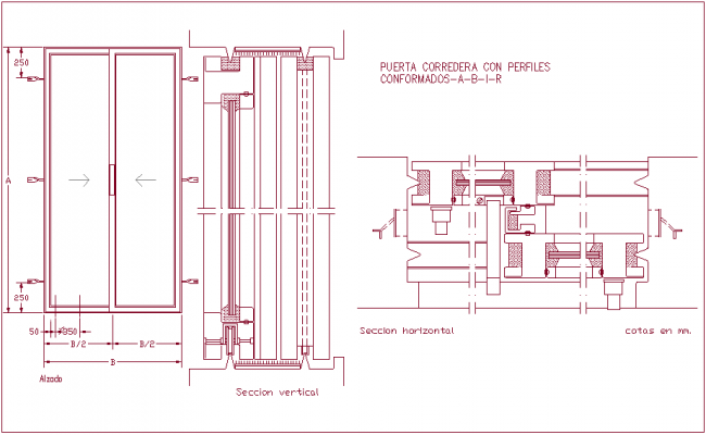 Horizontal And Vertical Section View Of Sliding Door Dwg File