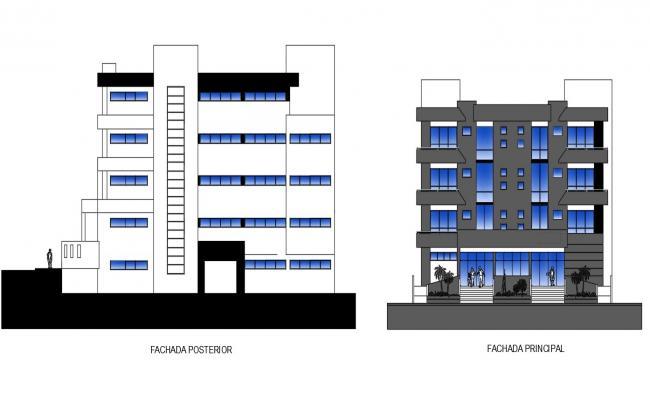 Hospital Building Elevation Design DWG File