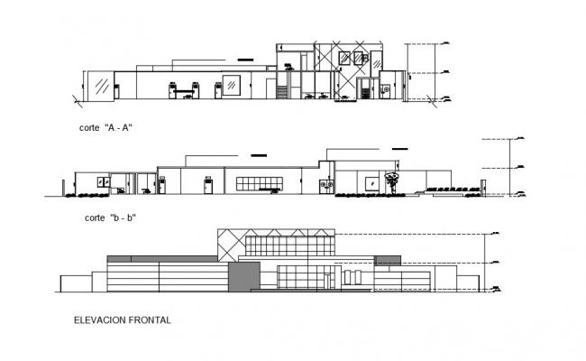 Hospital Building Section Elevation In DWG File