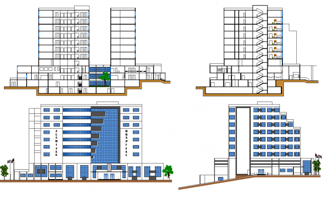 Plan Elevation Section Of Hospital : Hospital elevation and section plan