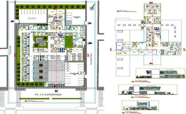 Plan Elevation Section Of Hospital : Hospital plan dwg file