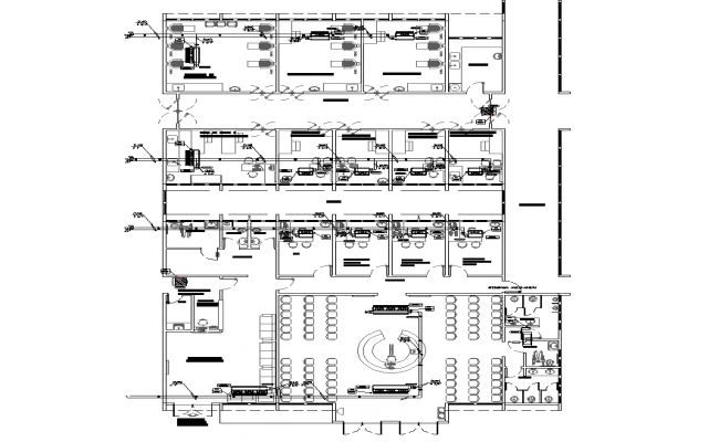 Hospital building detail plan 2d view layout file in dwg file
