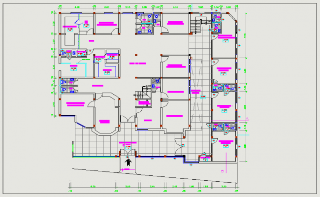 Hospital clinic plan view dwg file