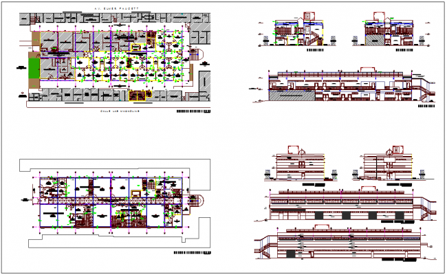 Hospital design view with plan,elevation and section view dwg file