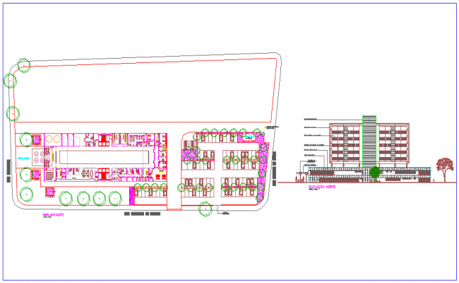 Hospital design with plan and elevation