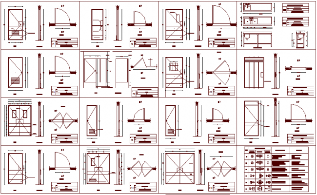 Hospital door design different types view with observation table dwg file