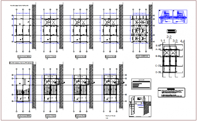 Hospital exit stair floor plan with structural view dwg file