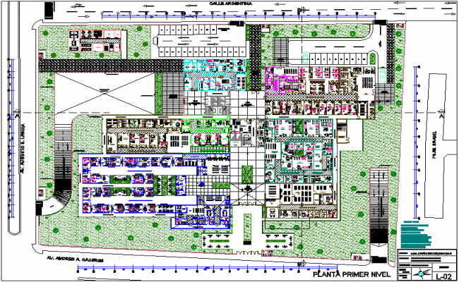 Hospital first floor plan with department view dwg file