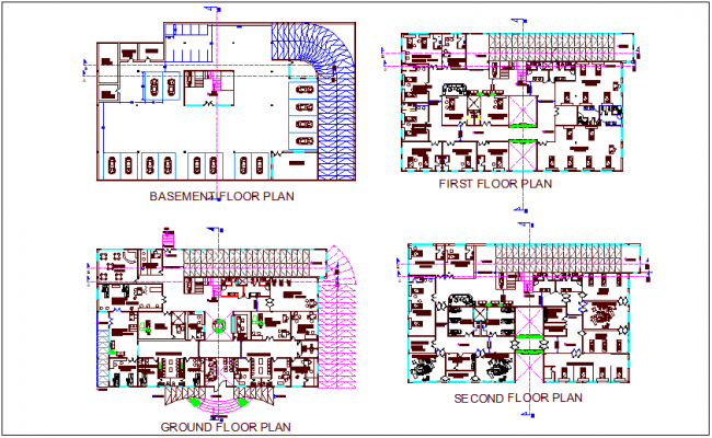 Hospital floor plan with basement floor plan dwg file
