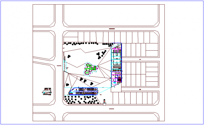 Hospital for Center of communal participation plan dwg file