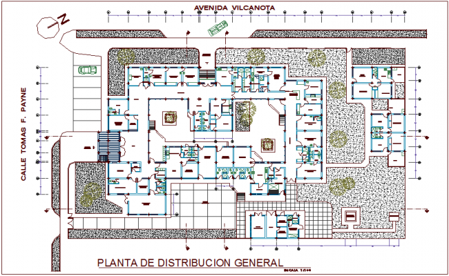 Hospital general distribution layout plan design view dwg file