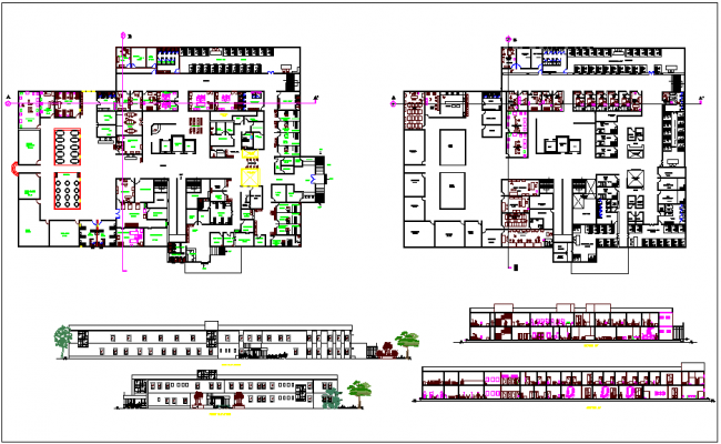Hospital plan,elevation and section view with bed view dwg file