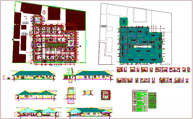 Hospital plan,elevation and sectional view with detail dwg file