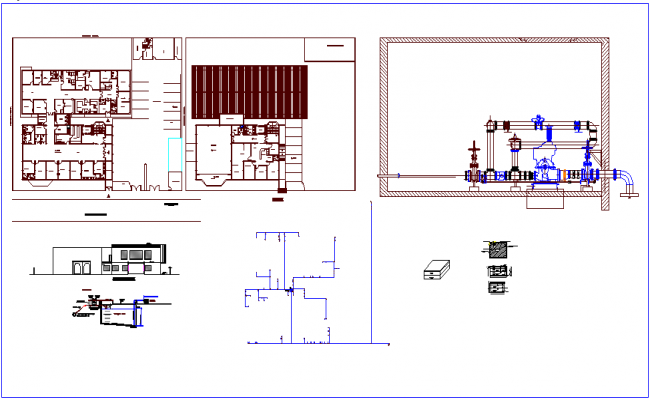 Hospital plan design view with sectional and elevation view with hydraulic line view dwg file