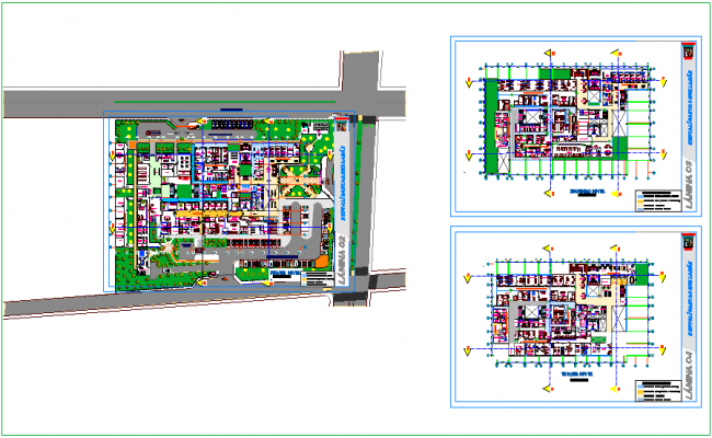 Hospital plan view with landscape view dxf file