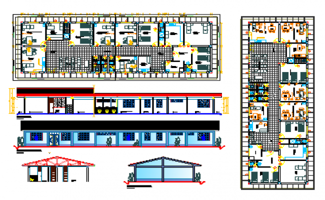 Hospital structure layout dwg file