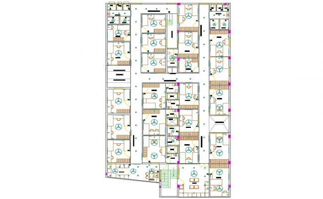 Hostel Building False Ceiling Plan AutoCAD Drawing