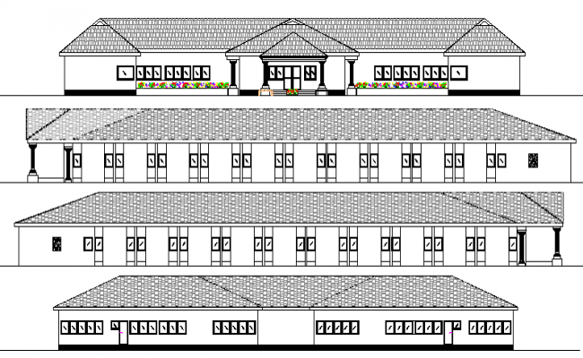 Hostel With 36 Rooms Design and Elevation dwg file