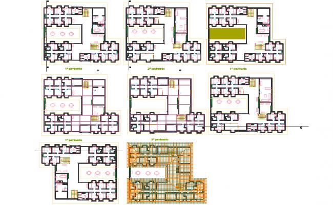 Hostel architecture building layout plan