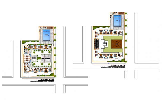 Hostel building detail structure 2d view layout dwg file