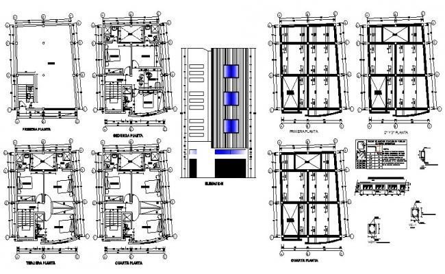 Hostel building multi-level main elevation and floor plan details dwg file