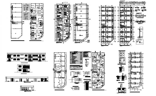 Hostel building two-story detailed architecture project dwg file