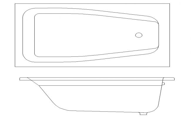 Hot  Bath Tub  Block  2D Design PLan With Elevation