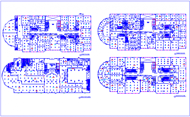 Hot ventilation and air conditioning(HVAC) plan for commercial office dwg file