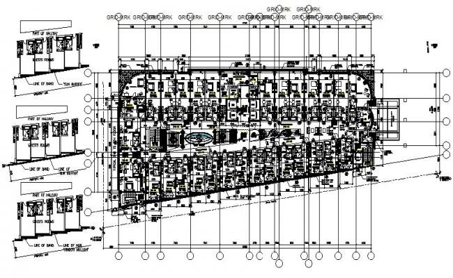 Hotel 2nd-floor plan 67.400mtr x 28.195mtr with detail dimension in dwg file