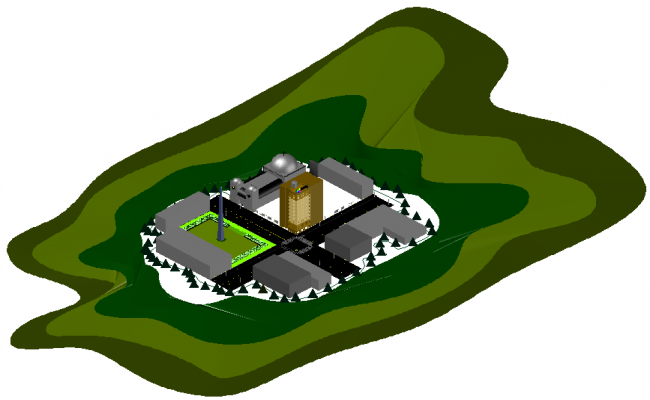 Hotel 3D view with tower
