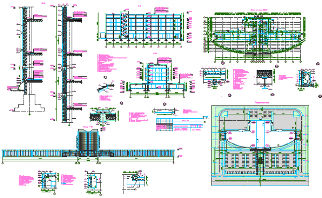Hotel Architecture Layout and Structure Details dwg file