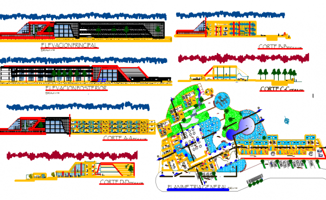 Hotel Architecture Plan dwg file