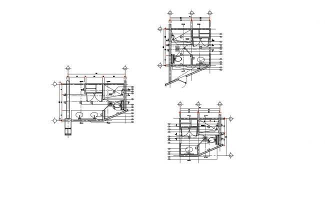 Hotel Bathroom Layout Plan In DWG File