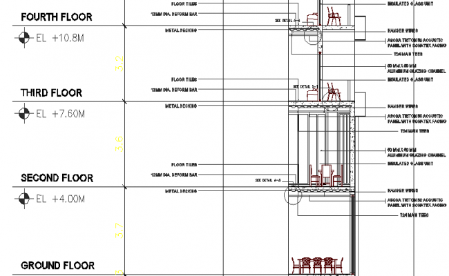 Hotel Bay Section Elevation Plan dwg file
