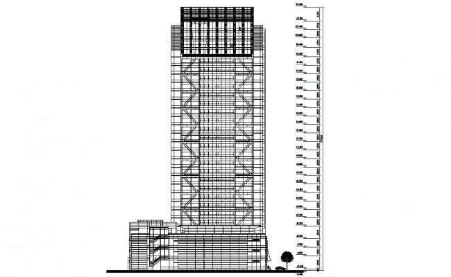 Hotel Building Elevation Design DWG File