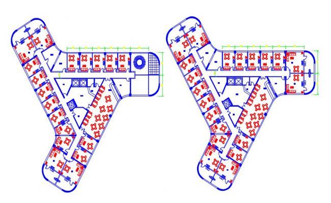 Hotel Building Floor Plan CAD Drawing