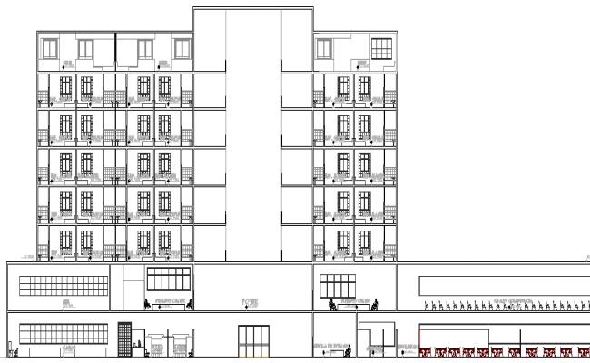 Elevation Plan Description : Hotel design and elevation plan dwg file