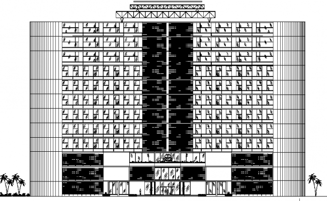 Hotel Design and Elevation Plan dwg file